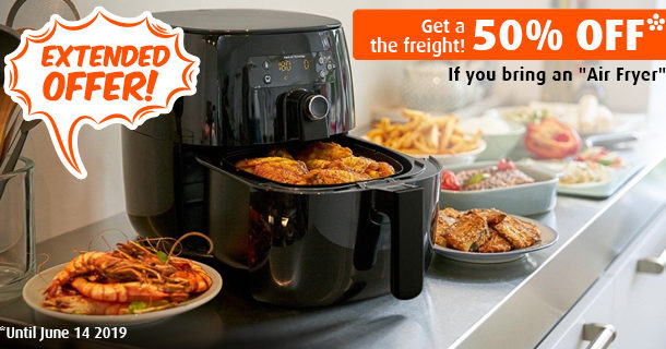 EXTENDED OFFER: 50% off the freight of your Air Fryer.